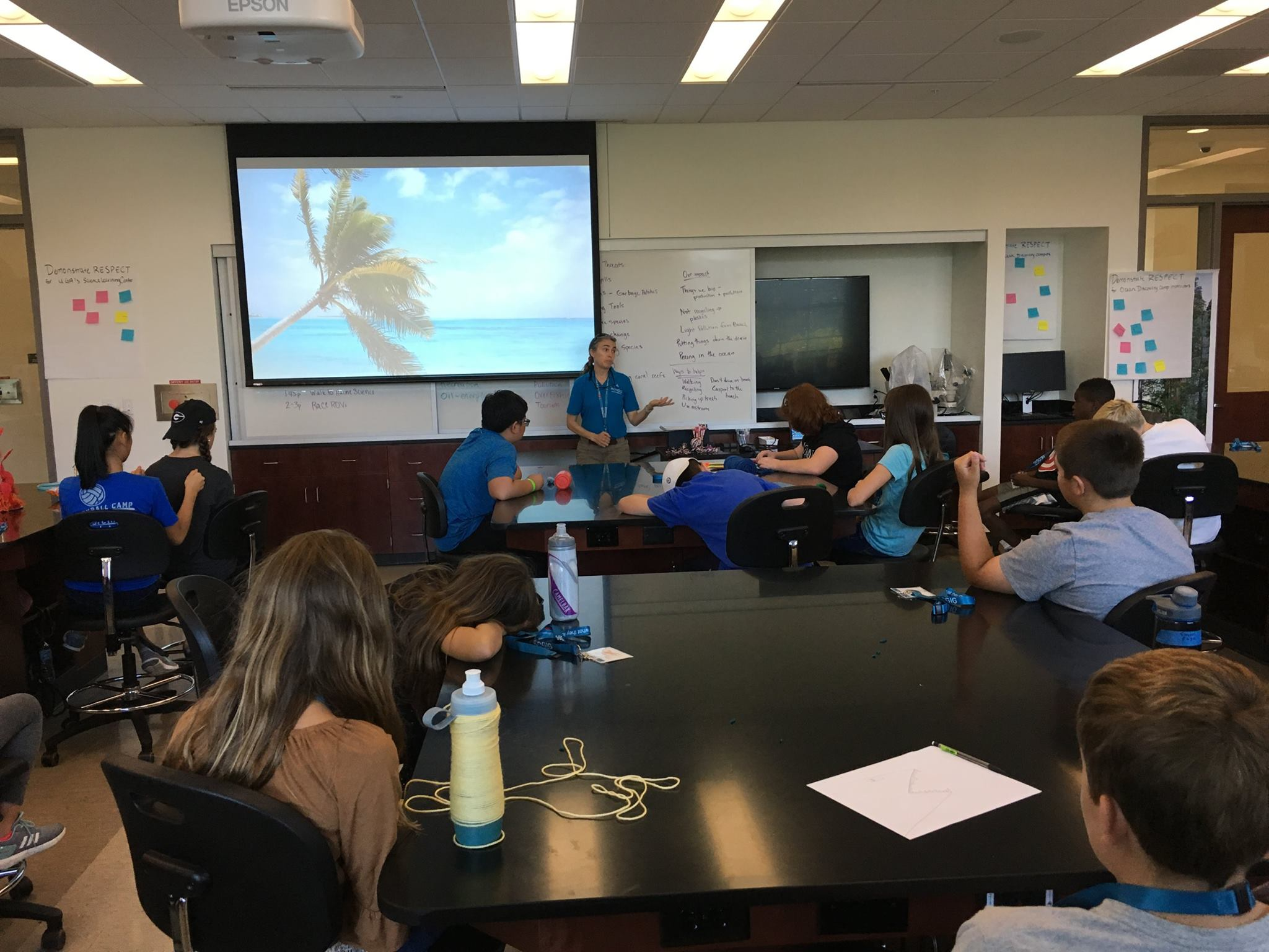 <div style='color:#000000;'><br /><br /><h2>2017 Ocean Discovery Camp. ECOGIG Project Director Dr. Mandy Joye talking about ocean exploration with campers. </h2>(c) ECOGIG</div>