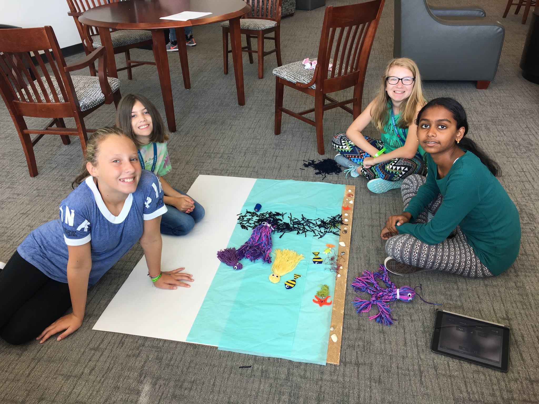 <div style='color:#000000;'><br /><br /><h2>2017 Ocean Discovery Camp. Campers working on their ocean-themed stop motion video. </h2>(c) ECOGIG</div>