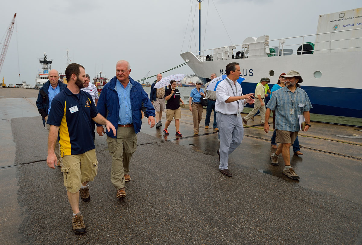 <div style='color:#000000;'><br /><br /><h2>Gulfport, MS Media Day 2013. Lead scientists Dr. Eric Cordes and Dr. Joe Montoya guide GOMRI leaders and members of the press on tours of the two vessels. </h2>Photo courtesy of Ocean Exploration Trust</div>