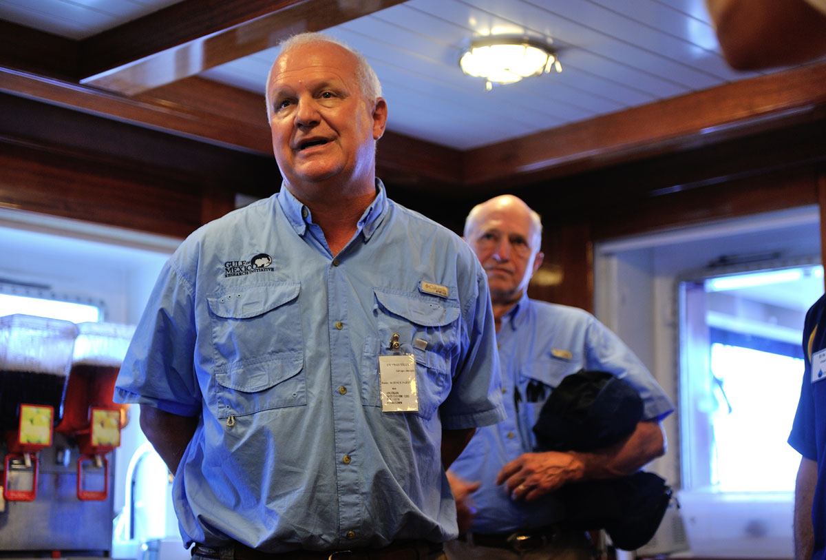 <div style='color:#000000;'><br /><br /><h2>Gulfport, MS Media Day 2013. Dr. Chuck Wilson (front), Chief Science Officer of GOMRI, and Dr. Mike Carron, Program Director of GOMRI, aboard the E/V Nautilus. </h2>Photo courtesy of Ocean Exploration Trust</div>