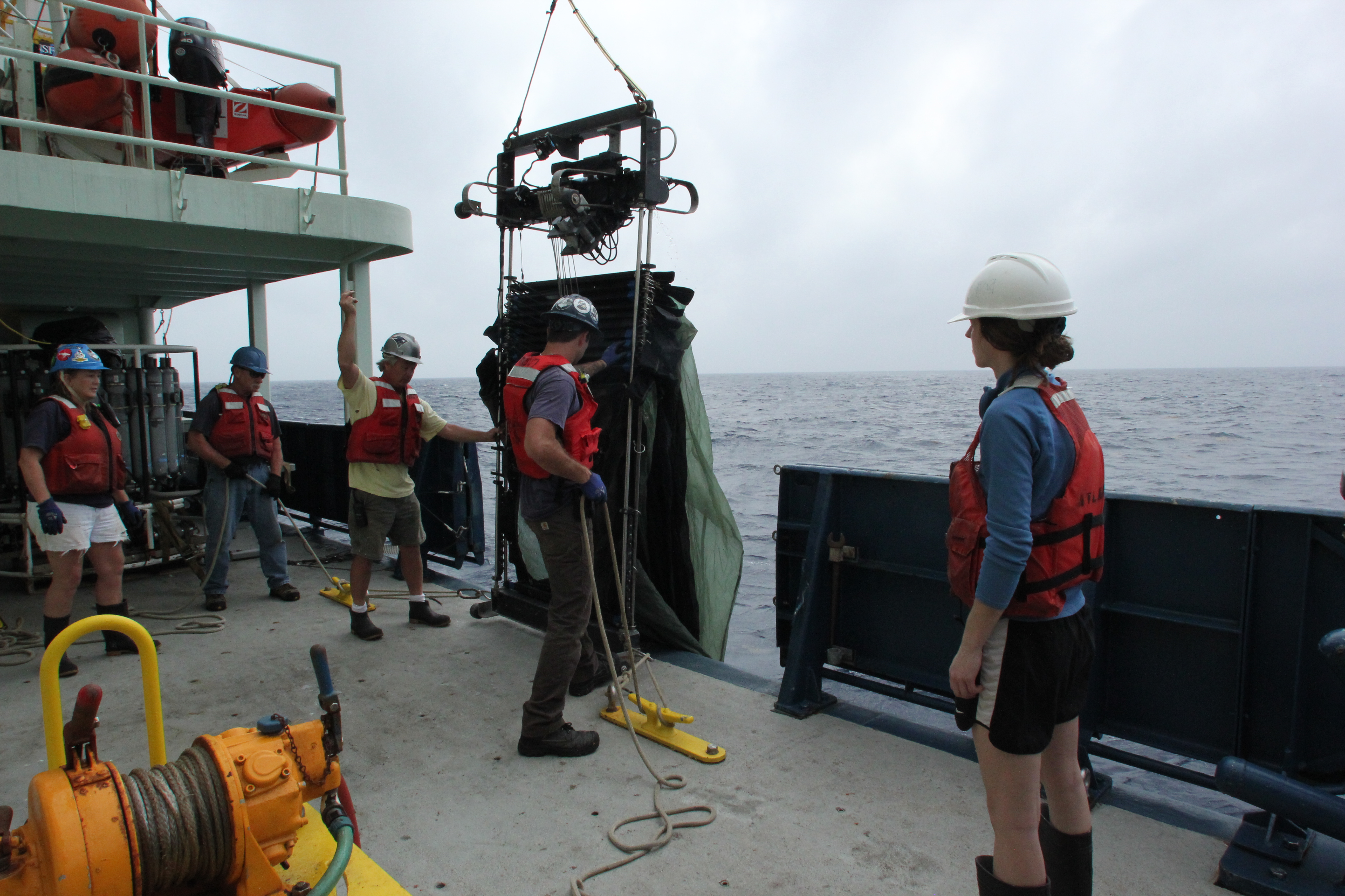<div style='color:#000000;'><br /><br /><h2>MOCNESS being deployed off the side of the research vessel for sampling.</h2>(C)&nbsp;ECOGIG</div>