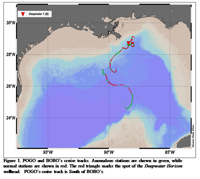 Figure 1. POGO and BOBO's cruise tracks. Anomalous stations are shown in green, while normal stations are shown in red. The red triangle marks the spot of the Deepwater Horizon wellhead.  POGO's cruise track is South of BOBO's