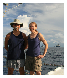 Dr. Joe Montoya and Dr. Mandy Joye on board the R/V Oceanus
